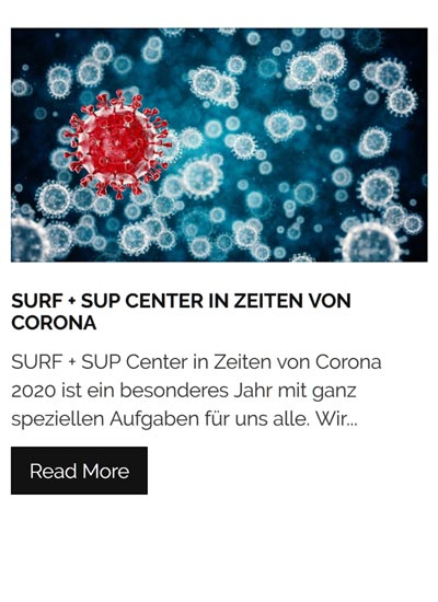 Surf + SUP Center in Zeiten von Corona